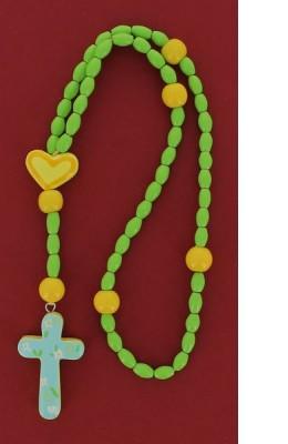 Chapelet bois vert  cœur jaune