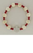 Bracelet dizainier grains ronds guillochés + rouges sur élastique